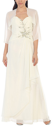 Mayqueen MayQueen Women's Special Occasion Dresses Ivory - Ivory Floral Embroidered Gown & Shrug - Women