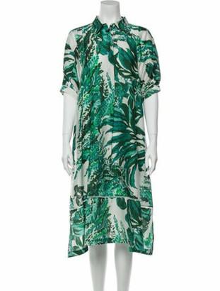 Cult Gaia Printed Midi Length Dress Green