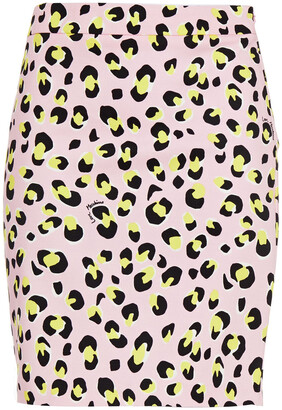 Love Moschino Leopard-print Cotton-blend Twill Mini Skirt