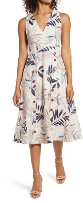 Vince Camuto V-Neck Sleeveless Print Midi Dress