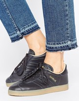adidas Black Leather Gazelle Trainers With Gum Sole