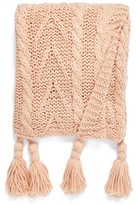 Nordstrom Cable Knit Tassel Throw Blanket