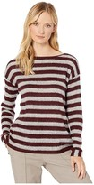 Vince Camuto Long Sleeve Fuzzy Stripe Boat Neck Mix Media Top (Port) Women's Clothing