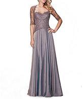 La Femme Sweetheart Lace Bodice Chiffon Gown
