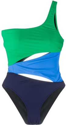 Solid & Striped Colour Blocked Swimsuit