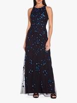 Adrianna Papell Long Sequin Dress, Black/Blue