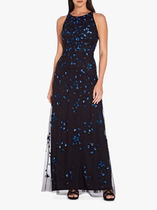 Adrianna Papell Long Sequin Dress, Black/Blue