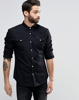 Religion Denim Shirt With Press Stud Buttons