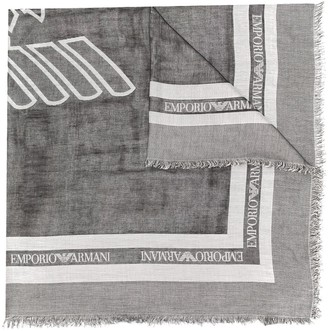 Emporio Armani Frayed Logo Scarf