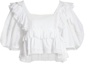 Rhode Resort Charlotte Ruffled Cropped Top