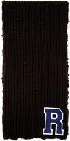 Raf Simons Black Wool Logo Scarf