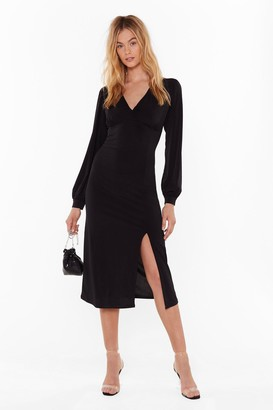 Nasty Gal Womens You Can Slit With Us Plunging Midi Dress - black - 6