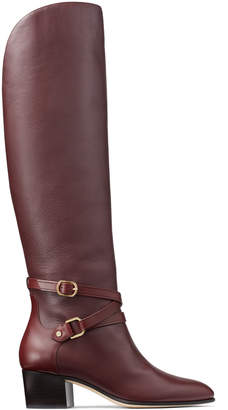Jimmy Choo HUXLIE 45 Bordeaux Smooth Leather Huxlie Boots