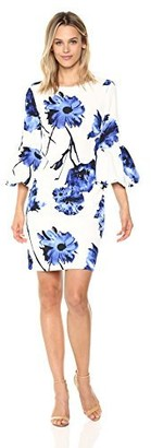 Chetta B Women's 3/4 Flounce Sleeve Floral Printed Scuba Sheath Dress