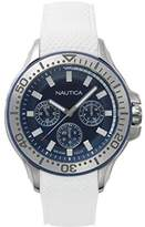 Nautica Men's 'AUCKLAND' Quartz Stainless Steel and Silicone Casual Watch, Color:White (Model: NAPAUC001)