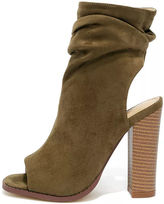 Liliana Only the Latest Black Suede Peep-Toe Booties