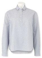 Savile Row Women's Grey Lime Bird Print Pop Over Relaxed Fit Shirt