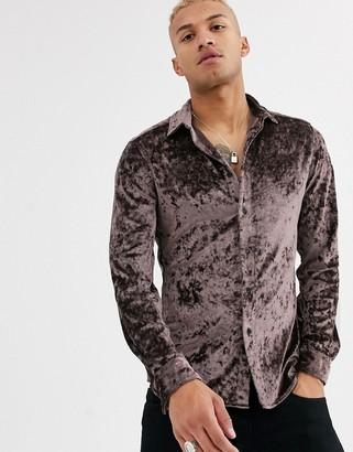 ASOS DESIGN stretch slim crushed velvet shirt in mink