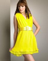Pleated-Trim Silk Dress