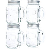 Asstd National Brand Set of 4 Glass Mason Jars with Metal Lids