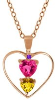 Gem Stone King 0.77 Ct Heart Shape Pink Mystic Topaz Citrine Gold Plated Silver Pendant With 18 Inch Chain