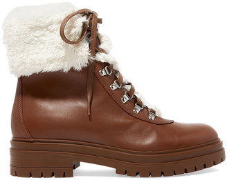 Gianvito Rossi Faux Shearling-trimmed Leather Ankle Boots