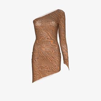 MAISIE WILEN One Sleeve Printed Mini Dress