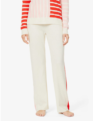 Chinti and Parker Side stripe-print straight-leg mid-rise wool and cashmere-blend jogging bottoms