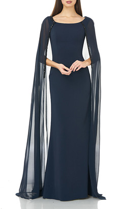 Carmen Marc Valvo Boat-Neck Crepe Column Gown with Chiffon Cape & Beaded Trim
