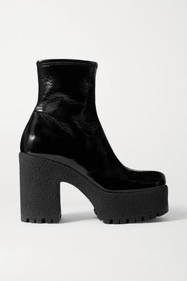 Miu Miu Crinkled Glossed-leather Platform Ankle Boots - Black