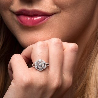 Color Gallery Sterling Silver Cubic Zirconia Vintage-inspired Ring