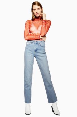 Topshop Womens Tall Bleach Raw Hem Straight Leg Jeans - Bleach Stone