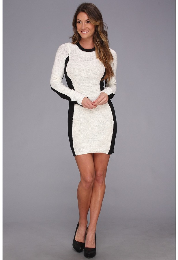 BCBGeneration L/S Round Neck Sweater Dress (Whisper White) - Apparel