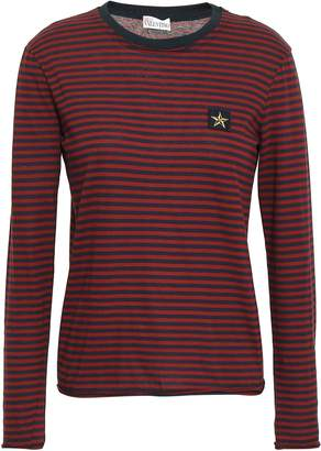 RED Valentino Appliqued Striped Cotton-jersey Top