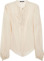 Alexander McQueen Lace and silk-blend crepe blouse