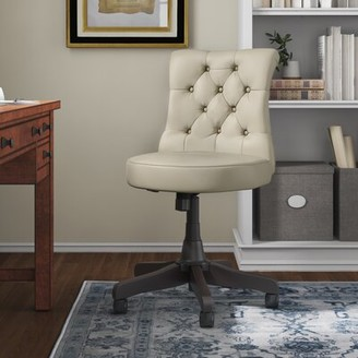 Three Posts Salina Mid Back Tufted Task Chair Upholstery Color: Tan Fabric