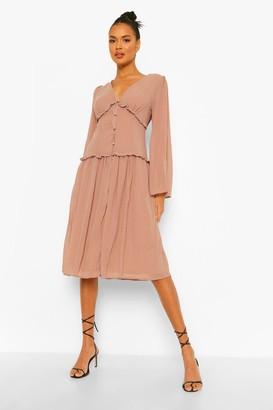 boohoo Chiffon Frill Trim Midi Dress