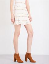 Sandro Pleated ribbed-knit mini skirt