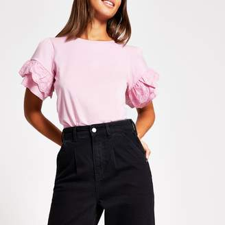 River Island Womens Pink broderie frill flute sleeve T-shirt