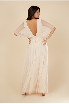 Little Mistress Nude Embellished Short Sleeve Maxi
