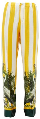 Issimo X F.r.s. For Restless Sleepers - Etere Striped Pelican-print Silk-twill Trousers - Yellow Multi