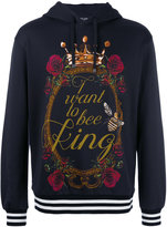 Dolce & Gabbana I want to be king print hoodie - men - Cotton - 50