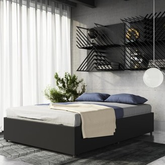 DHP Maven Platform Bed with Under Storage, Queen, Black Faux leather