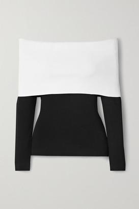 Proenza Schouler Off-the-shoulder Two-tone Stretch-knit Top - Black