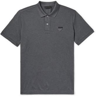 Prada Slim-Fit Logo-Appliqued Cotton-Pique Polo Shirt