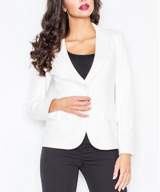 Figl FIGL Women's Blazers Ecru - Ecru Flap Pocket Double-Button Blazer - Women