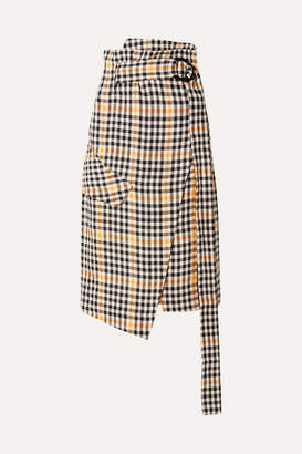 Petar Petrov Ryan Belted Checked Linen Wrap Skirt - Yellow