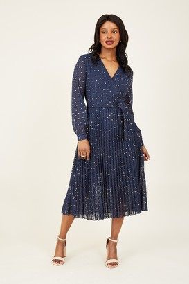Yumi Navy Star Foil Wrap Dress