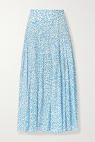 Thumbnail for your product : Rixo Claire Printed Cotton And Silk-blend Midi Skirt - Blue