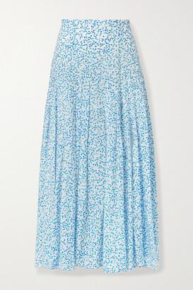 Rixo Claire Printed Cotton And Silk-blend Midi Skirt - Blue